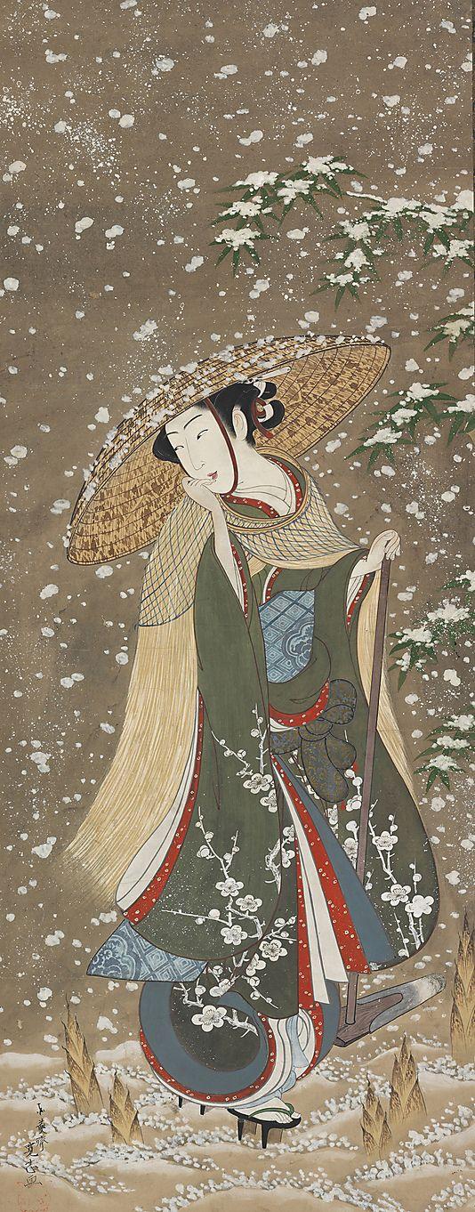 Сбор побеги бамбука зимой, Tōensai Kanshi (японский, активный 1748-1764):