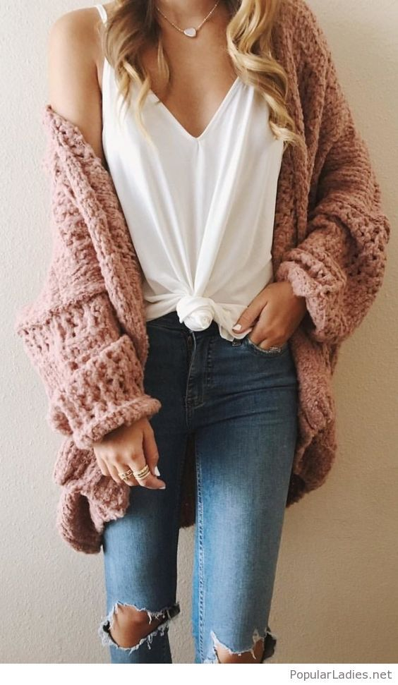 White top, jeans and cozy cardi