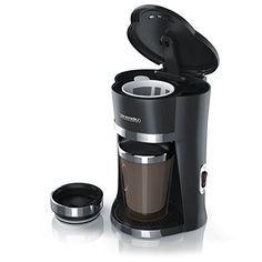 Arendo – 1-Cup To Go Machine à café express avec tasse isotherme de 300 ml   Puissance absorbée : 420 W   Filtre permanent en nylon…