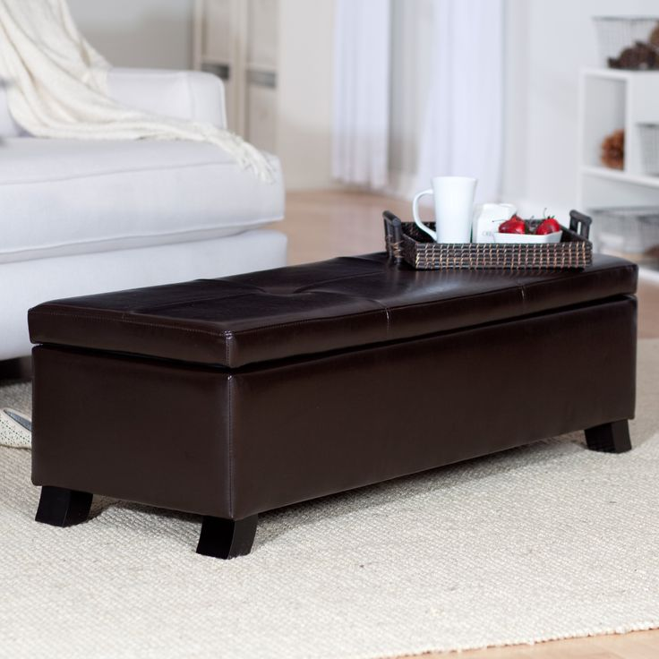 Crawford Leather Storage Bench Ottoman - With its long rectangular shape, hinged lid, and cavernous storage space, the Benson Leather Storage Ottoman is less of a foot stool, ...