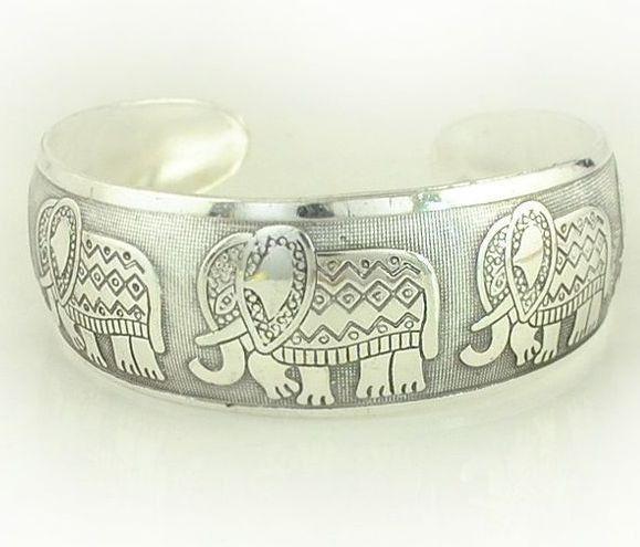 Elephant Herd Tibetan Silver Boho Chic Cuff Bracelet