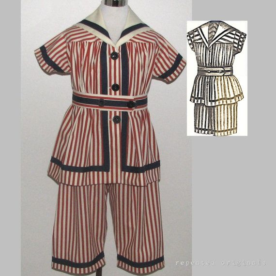 Victorian Reproduction -  Young Girl's Bathing Suit -  made from original 1887 pattern