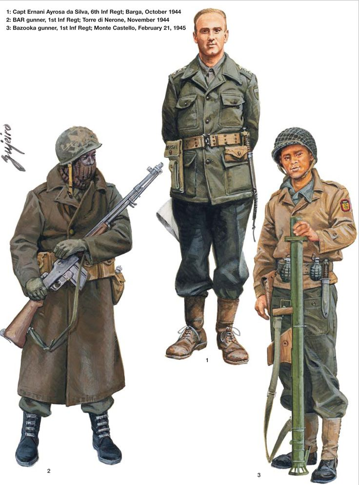 BEF (Brazilian Expeditionary Force) - Capitano Ernani Ayrosa da Silva, 6th Reggimento Fanteria, Barga, ottobre 1944 - Mitragliere BAR, 1st Reggimento Fanteria, Torre di Nerone, novembre 1944 - Bazooka gunner, 1st Reggimento Fanteria, Monte Castello, 21 feb 1945.