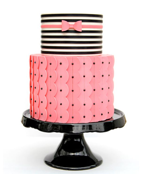Tiered Cake Black Bow Tie | Tiered Cake with Pink Bottom and Striped Top