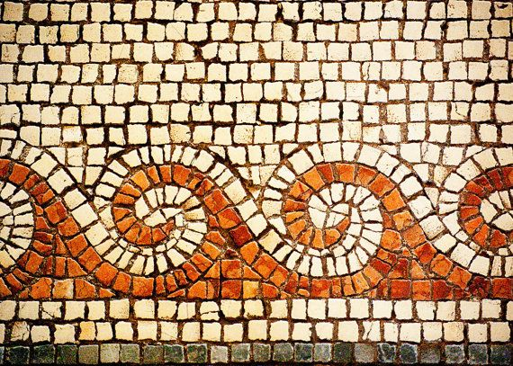 Israel Travel Photography - Cream Brown Tan Byzantine Mosaic Fine Art Photograph of Church of the Multiplication