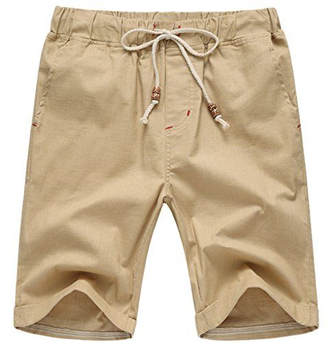 Our Precious Men's Linen and Cotton Casual Classic Fit Short Khaki XL:   Comfortable and breathable, no shrink and faded  Elastic waistband with adjustable internal drawstring for a custom fit  Side slant pockets with one patch pocket on the back  Shipping Way: Prime, Second Day, USPS/UPS: 7-15 days(Mostly even earlier)  Free Return Policy. Handwash in cold water gently, Please check the garment measurements before order(The Last image)
