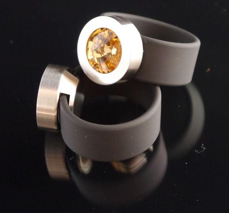 Silikon - Ring + Edelstahlkopf silber + SWAROVSKI ELEMENTS Fb. Light Colorado Topaz-$29.95-(ring-rings )