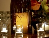 Wine Bottle Lantern in Script- As seen in BRIDES magazine and the 2012 Sports EMMY swag bags. $25.00, via Etsy.