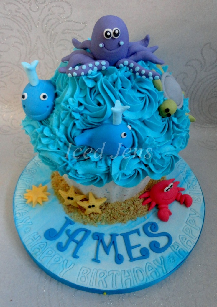Under the Sea themed Giant cupcake