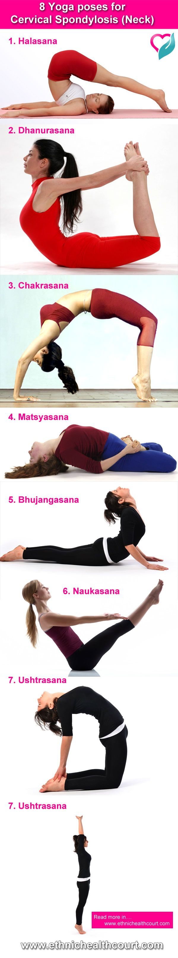 8 Yoga poses for Cervical Spondylosis (Neck) : Cervical spondylosis is a disease of modern lifestyle. I t is brought upon by sitting hunched over computer screens or by reading lying down. If a person has a simple stiff neck, simple yoga exercises of stretching are used to increase the flexibly of neck. Read more : http://ethnichealthcourt.com/2013/04/20/8-yoga-poses-for-cervical-spondylosis-neck/  #Yoga