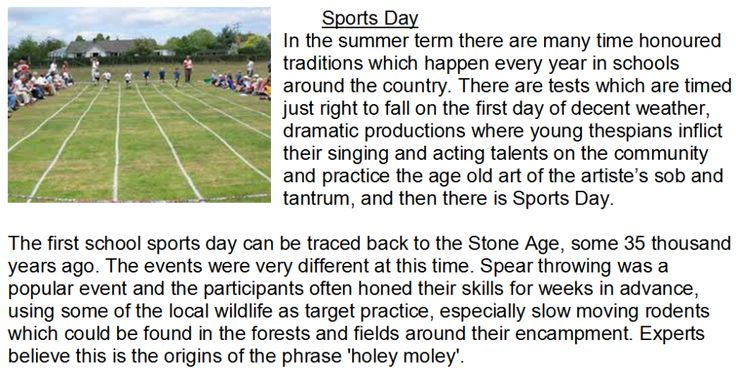 History of Sports Day - A reading comprehension which describes a fictional (and hopefully amusing) history of sports days.