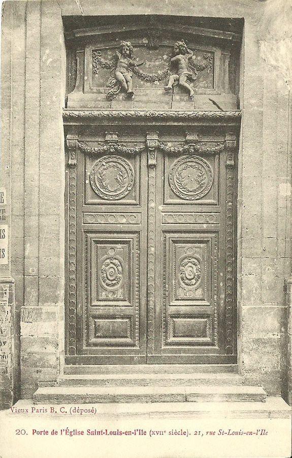 """Porte de l""""Église Saint-Louis-en-l'Île(XVIIe siècle) 21, rue St-Louis-en-l ile"""