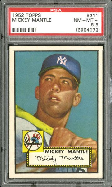 Mickey Mantle 1952 Topps baseball card.  A PSA 8.5 example sold recently for $272,550.