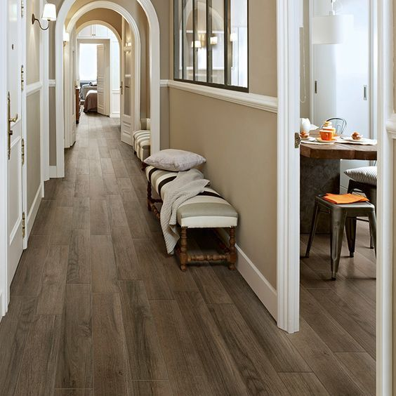 Wilderness porcelain plank tile, a classic American hardwood look that's very, very durable: