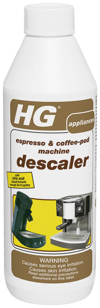 HG's Espresso & Coffee-Pod machine Descaler, safe citric acid formula has been developed & formulated especially for removing scale from all types of espresso and coffee-pod machines.  . Easy to use, safe and fast acting, odor-free biodegradable. With regular use the efficiency and performance of your machine is maintained, extending it's lifespan  and also improving the great taste of your coffee! 1 bottle is enough for over 6 cleaning cycles.  $9.99 www.HGProblemsolvers.com