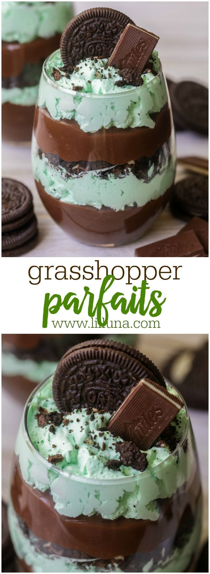 Grasshopper Parfaits - layers of chocolate pudding, mint whipped cream, Crushed Oreos and Andes chocolates!