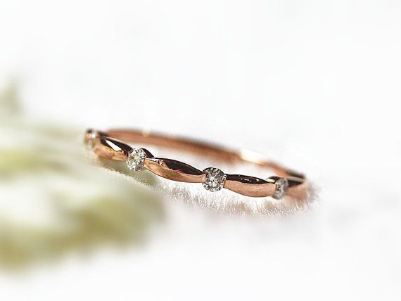 Bamboo Design Wedding Band 14K Rose Gold 0.17ct by InOurStar