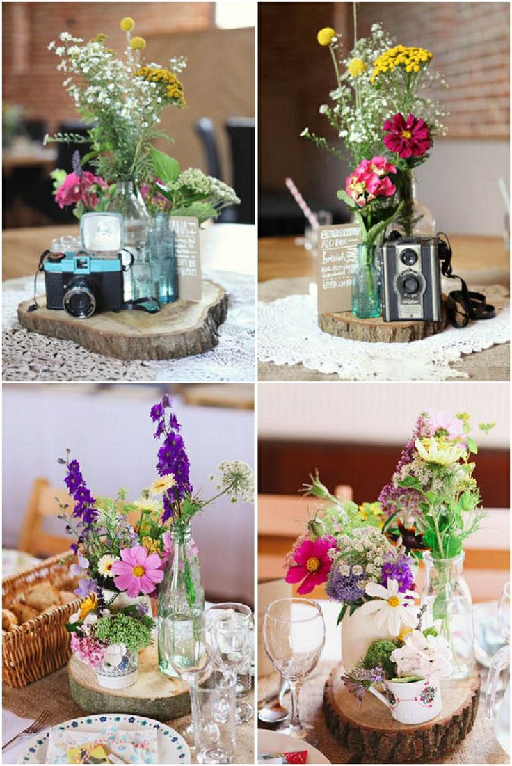 how to make log centerpieces
