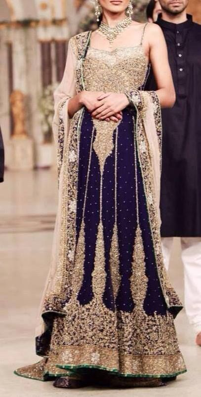 Navy and gold bridal outfit, pakistani bridal