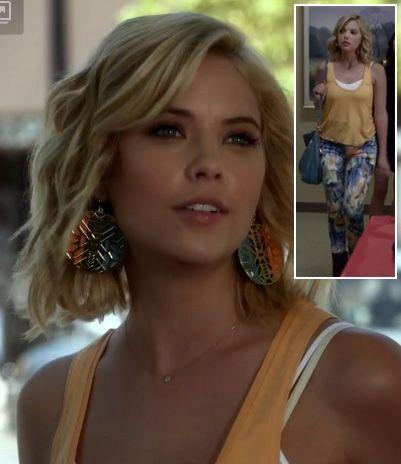 PLL Hanna / Orange tank top, blue floral jeans (Dylan George), and circle earrings (ASOS) / Season 3