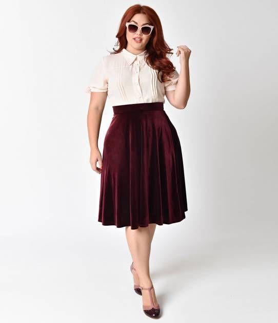 Plus Size Retro Style Ruby Velvet Stretch High Waist Swing Skirt