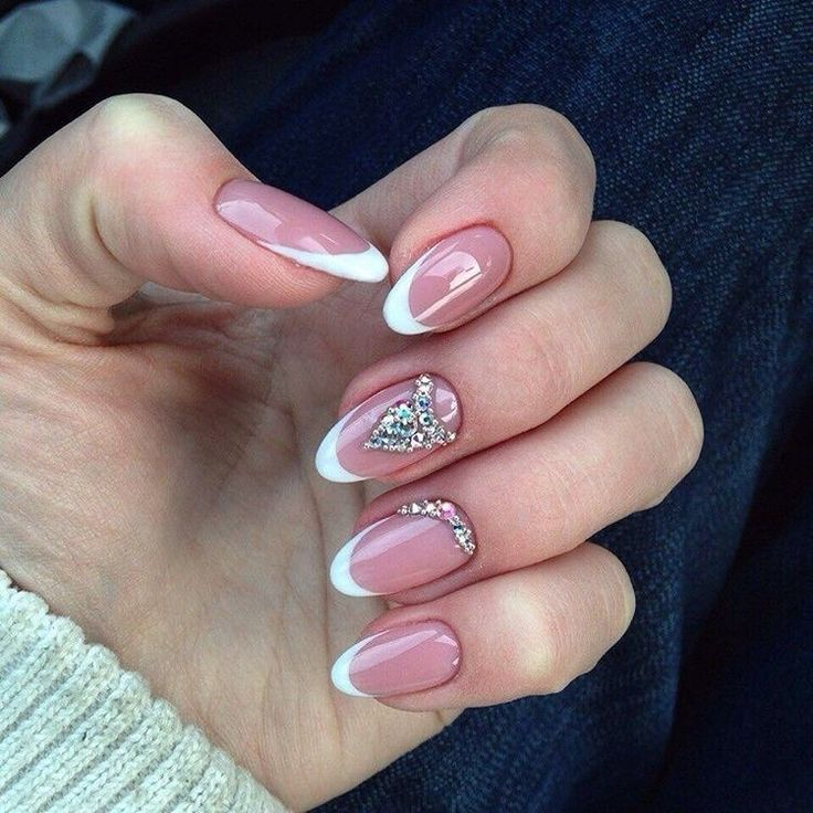 Beautiful wedding nails, Evening french manicure, Exquisite nails, Gel polish on the nails oval, Moon French manicure, Original wedding nails, Oval French manicure, Oval nails
