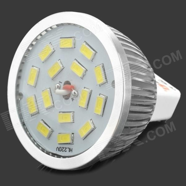 Brand: Lexing; Model: LX-SD-004; Material: Aluminum + glass cover; Color: Silver + white; Quantity: 1; Emitter Type: 5630 SMD LED; Total Emitters: 15; Power: 6 W; Color BIN: White; Rate Voltage: 12 V; Chip Working Voltage: 3.0~3.6; Luminous Flux: 400~450 lm; Color Temperature: 6000~7000 K; Wavelength: N/A nm; Chimney type: MR16; Connector Type: G5.3; Application: Lightning; Packing List: 1 x Spotlight; http://j.mp/1lkoj9Q