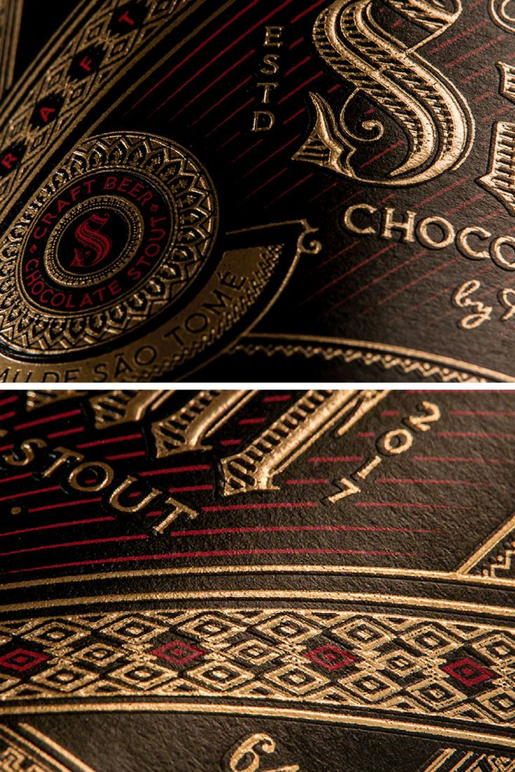 A chocolate stout made with the unique cocoa from São Tomé. The design is meant to make The Saint look as chocolatey and premium as it tastes. The gold foil and emboss printing, combining these elegant details only makes it more selected.