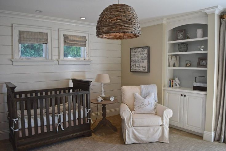 Gender Neutral Nursery for a Beach Style Nursery with a Basket Pendant Lights and Warwick Newport Beach by D & H Interiors