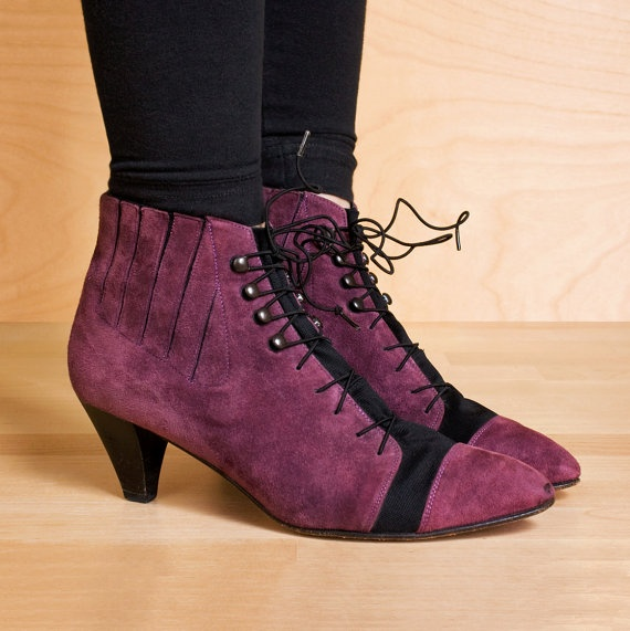 Lace up ankle boots 5.5. Vintage 1980s purple suede lace up boots by kenaione, $79.00