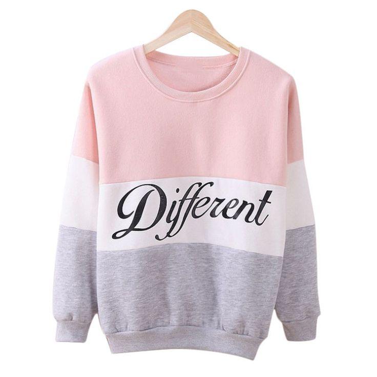 2016 женщины пуловеры весна толстовки письма Diffferent печатных сочетание цветов свободного покроя флис толстовки Sudaderas Mujer купить на AliExpress