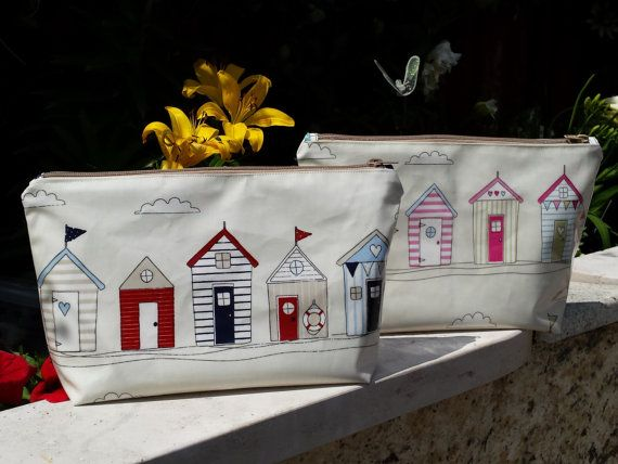 wash bag beach hut blue or pink gift for her by GoossensBags