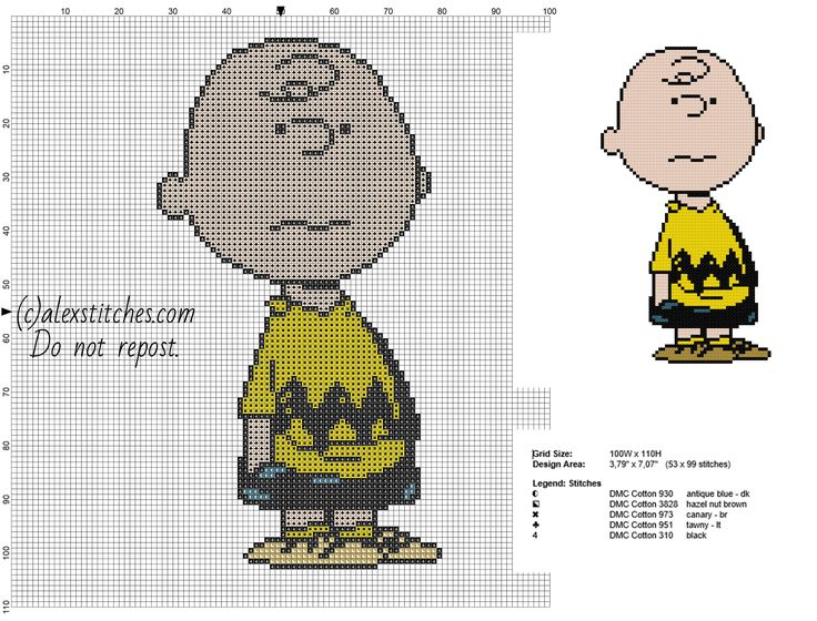 Charlie Brown Peanuts character free cross stitch pattern - free cross stitch patterns by Alex
