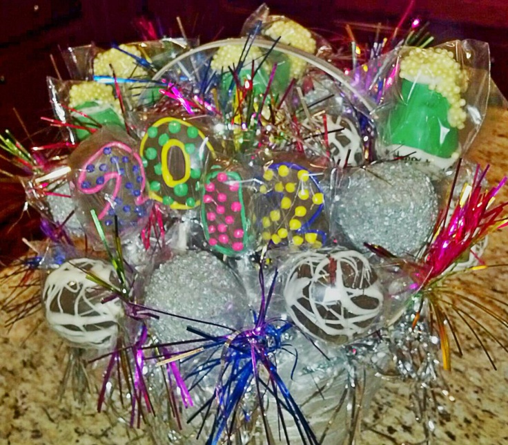new years eve cake pop gift basket created by artistic eats for me things that make go yum. Black Bedroom Furniture Sets. Home Design Ideas