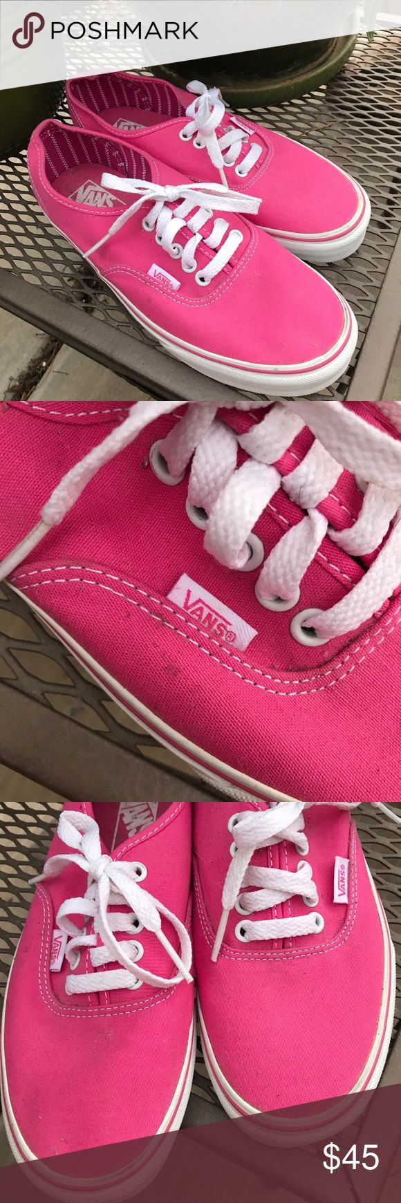 Classic Hot Pink Vans NEW These are like new. I have never worn them. However, they have gathered dust and a few small dirt marks from sitting in my shoe bin. All flaws are shown in pictures, they are minimal. I bought them but never wore because pink is a little bold for my Tom boy self. 😂 hopefully someone can give them some love 💕 open to offers, bundle to save ♥️ Vans Shoes Sneakers