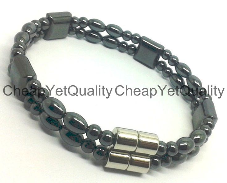 Magnetic Black Hematite Healing Skinny Beads Bracelet W/2 Magnetic Clasp Al Size