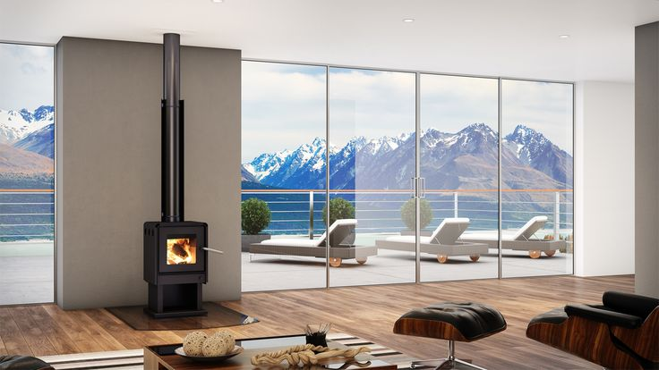 Bosca Limit 380 Wood Fire - Affordable, modern and blended heat output. The subtle smoked glass ash hearth protects your floor without disrupting your view #woodfire #fire #mountainview #modernhomes #openplan #cleanliving #NZ #europeandesign #design #architecture
