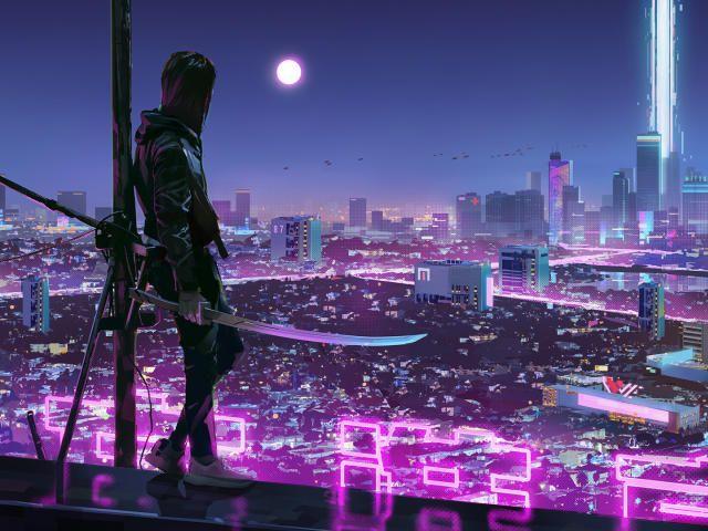 Cyberpunk Futuristic City Warrior Warrior Girl In Cyberpunk City In 2020 Desktop Wallpaper Art Aesthetic Desktop Wallpaper Cyberpunk City