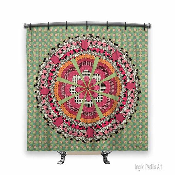 Mandala, BOHO Shower Curtain, Shower curtain, Mandala shower curtain, pink and green shower curtain, Fabric shower curtain, Mandala Art
