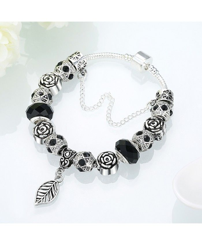 New Fashion Black Crystal Glass Beads With Leaf Pendant DIY Bracelet