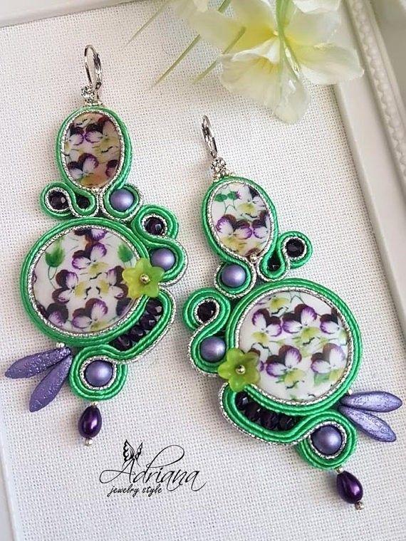 Soutache mother of pearl earrings