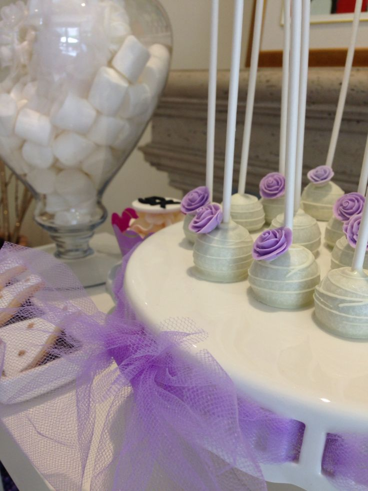 Purple theme sweet candy bar  bridal shower  cupcakes _cakepops