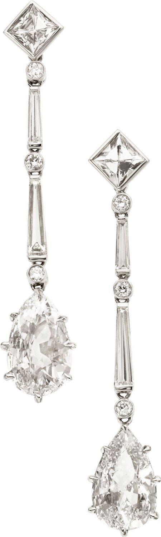 Art Deco Diamond, White Gold Earrings.