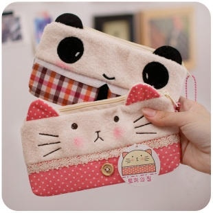 adorable kitty and panda pencil pouches!