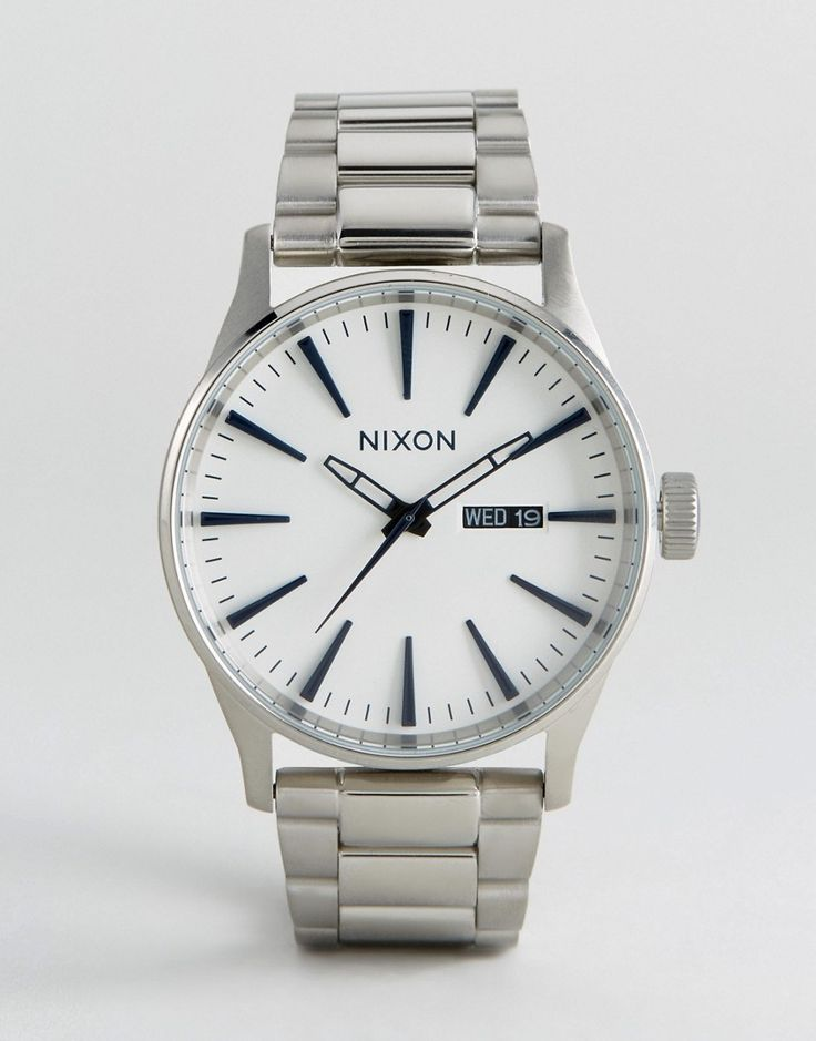 Nixon Sentry SS Stainless Steel Watch In Silver - Silver