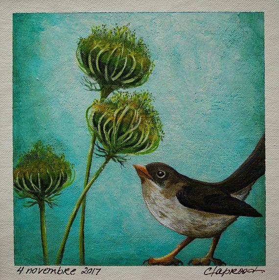 Bird painting sparrow painting bird wall art blue & green