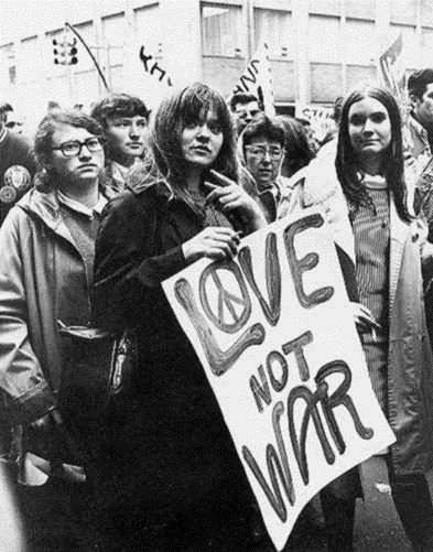 Hippies were a major part of the culture in the 60s and 70s and they were ones who were very against war, because they just wanted everyone to love each other.