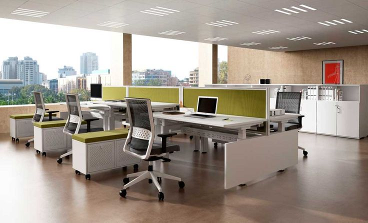 Simple Interior Design of Office with white and green table