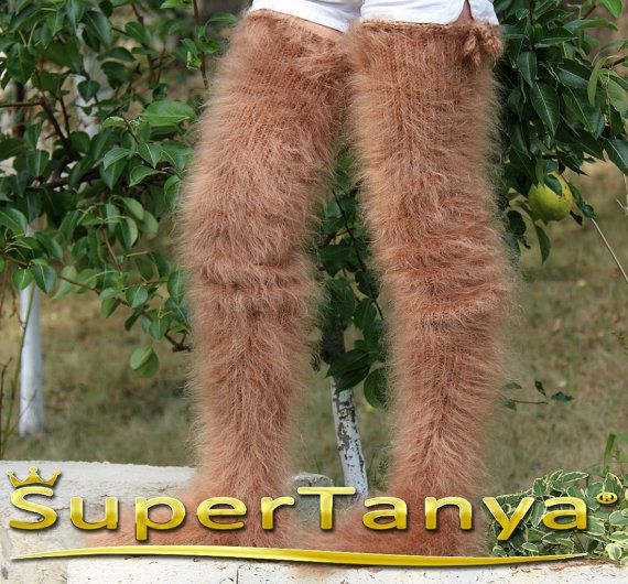 Made to order thick and fuzzy hand knit mohair stockings long socks in light brown by SuperTanya
