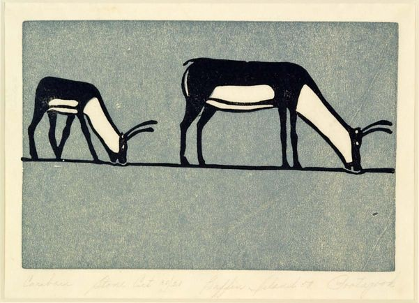 Joseph Pootoogook, Canadian, 1887–1958, Caribou, 1958 linocut, stencil on paper| Winnipeg Art Gallery